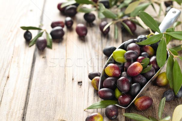 Friss olajbogyók merítőkanál zöld fekete oliva levelek Stock fotó © Vitalina_Rybakova