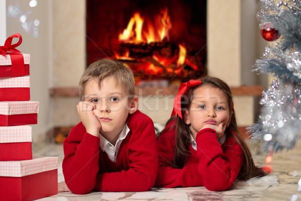 Presenteert christmas kinderen bont kerstboom Stockfoto © Vitalina_Rybakova
