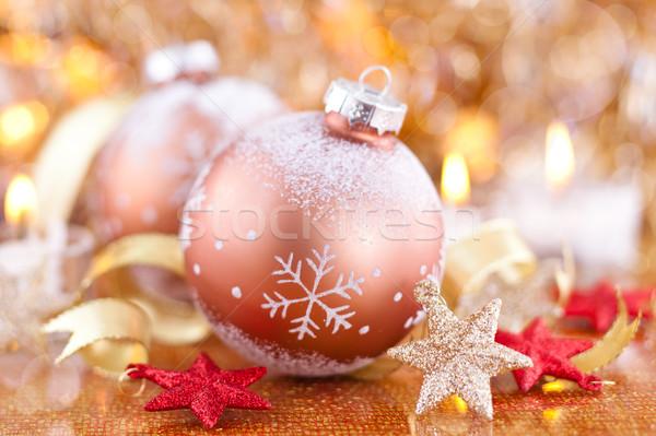 Goud bal sterren gouden sneeuwvlok vakantie Stockfoto © Vitalina_Rybakova