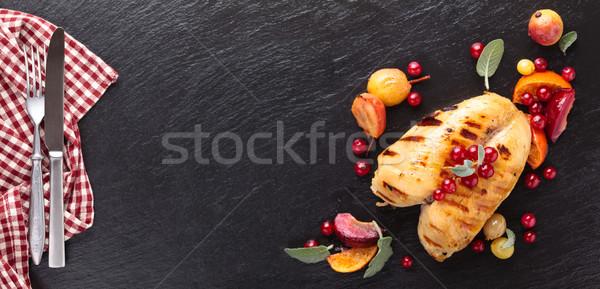 鶏の胸肉 クローズアップ ショット セージ 果物 ストックフォト © Vitalina_Rybakova