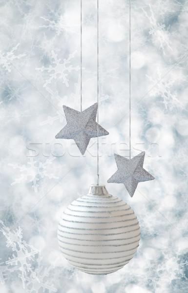 クリスマス 装飾 星 白 ボール 銀 ストックフォト © Vitalina_Rybakova