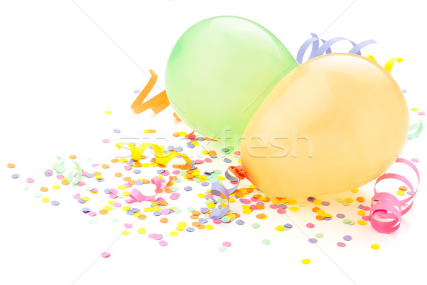 Birthday arrangement. Balloons and confetti isolated on white. Stock photo © Vitalina_Rybakova