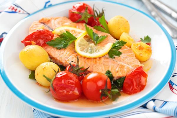 Zalm groenten shot biefstuk Stockfoto © Vitalina_Rybakova