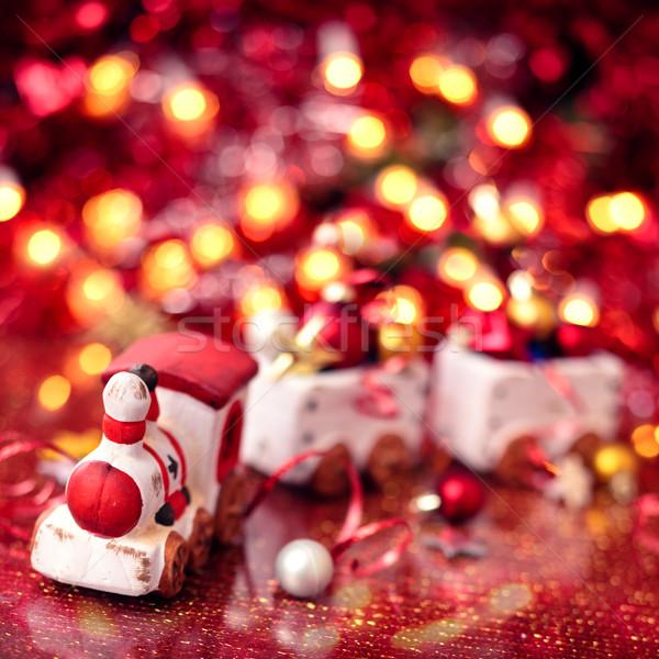 Oude christmas trein vakantie lichten ondiep Stockfoto © Vitalina_Rybakova