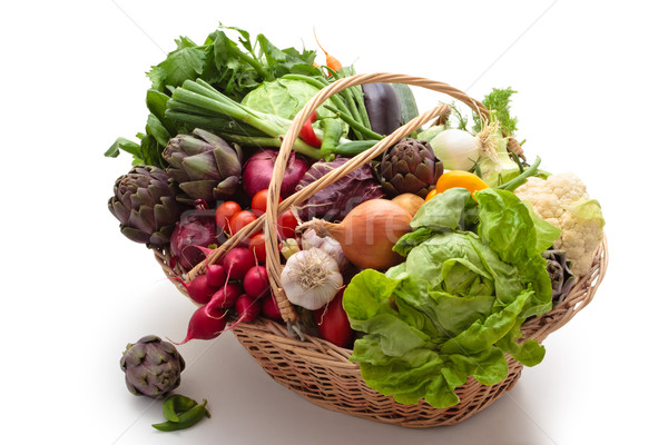 Verse groenten mand collectie gemengd vers organisch Stockfoto © Vitalina_Rybakova