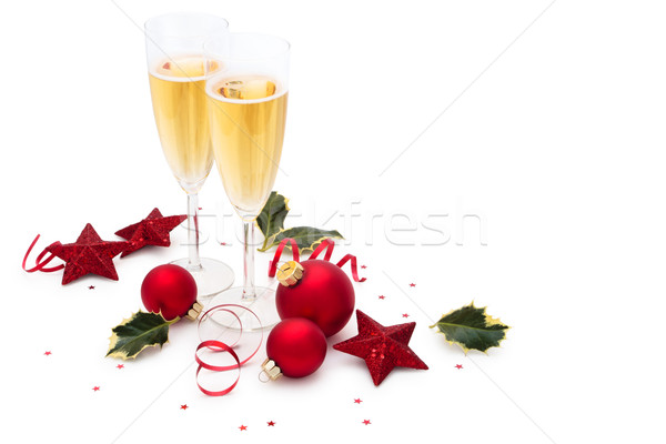 Christmas ornament sterren bladeren champagne Stockfoto © Vitalina_Rybakova
