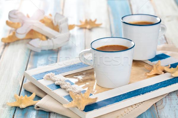 Sabah kahve mavi fincan ahşap masa deniz Stok fotoğraf © Vitalina_Rybakova