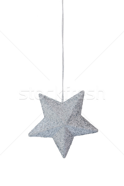 Christmas decoratie witte opknoping zilver star Stockfoto © Vitalina_Rybakova