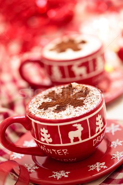 Csészék forró csokoládé karácsony nap díszített ünnepek Stock fotó © Vitalina_Rybakova
