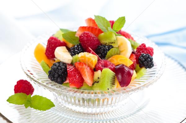 свежие фрукты Салат фруктовый салат мята листьев стекла Сток-фото © Vitalina_Rybakova