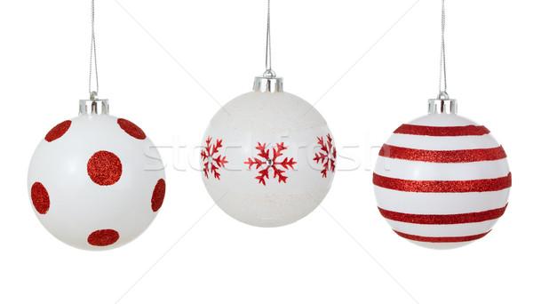 Christmas ornament witte geschilderd Rood Stockfoto © Vitalina_Rybakova