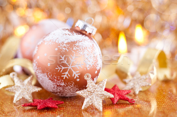 Christmas decoratie sterren gouden bal sneeuwvlok Stockfoto © Vitalina_Rybakova