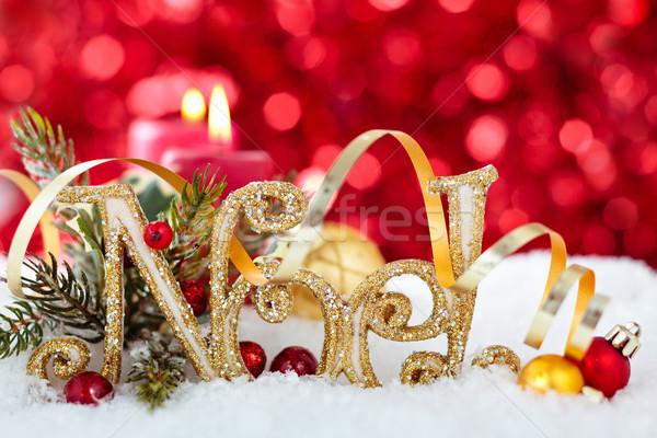 Christmas ornament sneeuw decoratie teken vakantie Stockfoto © Vitalina_Rybakova