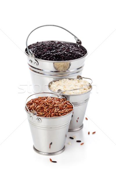 Rijst verschillend geïsoleerd witte textuur gezondheid Stockfoto © Vitalina_Rybakova