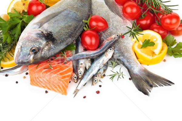 Vers vis collectie citroen peterselie geïsoleerd Stockfoto © Vitalina_Rybakova