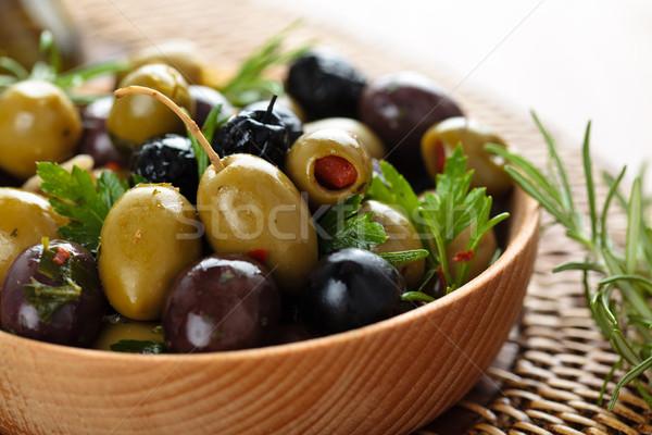 Gemarineerd olijven shot kruiden specerijen Stockfoto © Vitalina_Rybakova