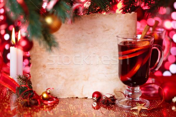 Tatil şarap eski parşömen Noel turuncu restoran Stok fotoğraf © Vitalina_Rybakova