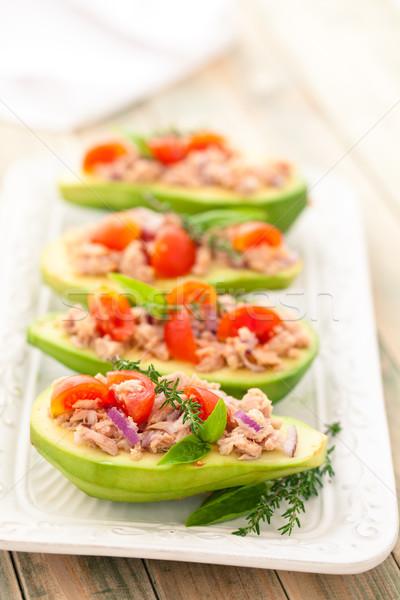Stockfoto: Gevuld · avocado · dienblad · tonijn · ui · tomaat