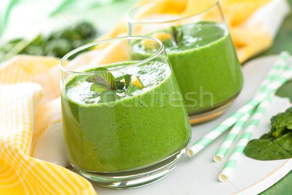 Spenót smoothie menta levelek citrom asztal Stock fotó © Vitalina_Rybakova