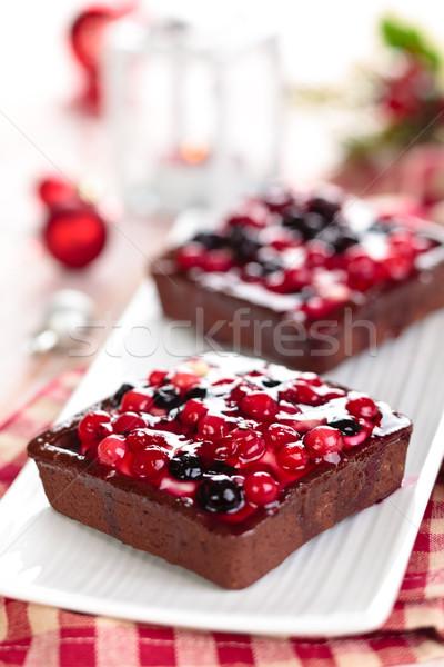 Bessen bos christmas dag vruchten cake Stockfoto © Vitalina_Rybakova