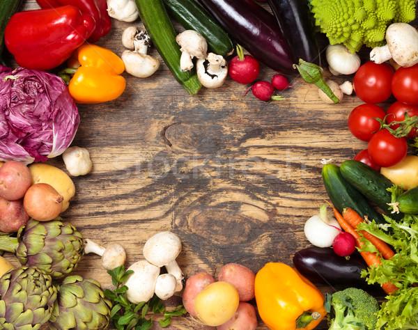 Verse groenten houten collectie gemengd organisch groenten Stockfoto © Vitalina_Rybakova