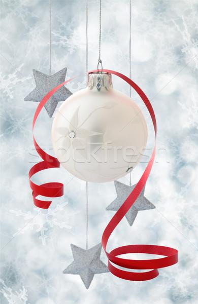 Noel dekorasyon beyaz top gümüş Stok fotoğraf © Vitalina_Rybakova