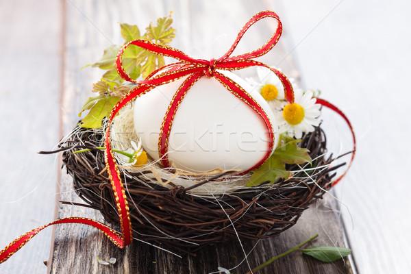 Easter egg yuva beyaz yumurta ahşap Paskalya Stok fotoğraf © Vitalina_Rybakova