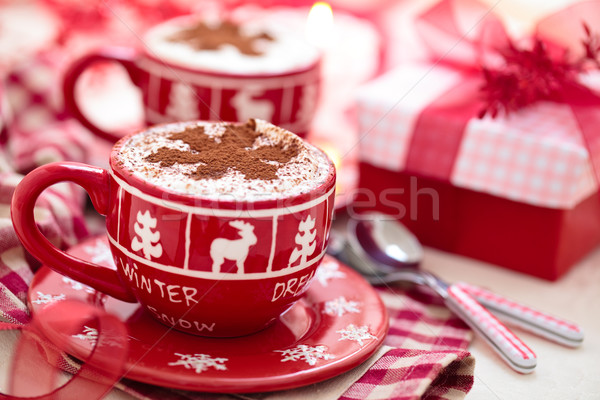 Chocolate quente natal dia decorado copo férias Foto stock © Vitalina_Rybakova