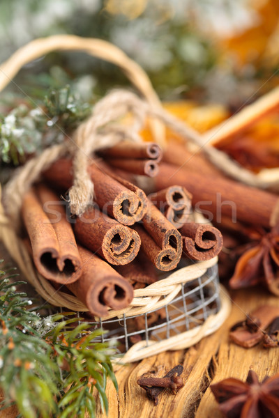 Fahéj kosár karácsony nap fa természet Stock fotó © Vitalina_Rybakova