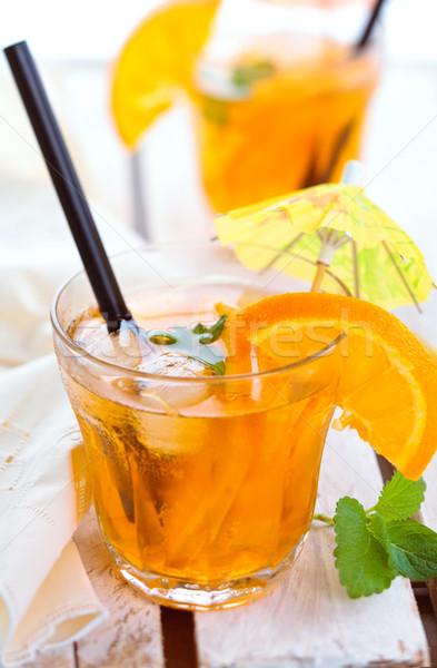 Turuncu limonata nane portakal ahşap masa Stok fotoğraf © Vitalina_Rybakova