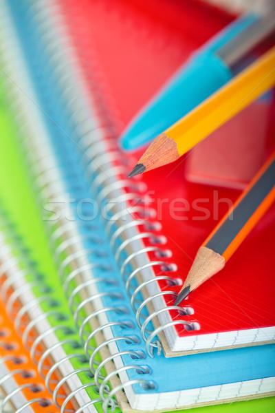 Schoolbenodigdheden shot notebooks focus tip Stockfoto © Vitalina_Rybakova