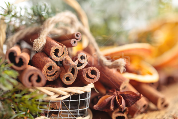 Kaneel mand christmas dag hout natuur Stockfoto © Vitalina_Rybakova