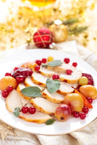 Pechuga de pollo vacaciones frontera frutas salvia Foto stock © Vitalina_Rybakova