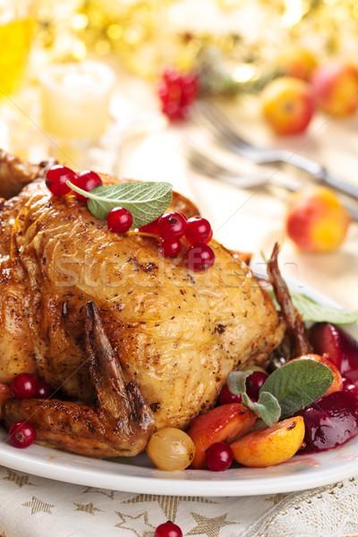 Całość grillowany kurczak zachowane różny owoce wakacje Zdjęcia stock © Vitalina_Rybakova