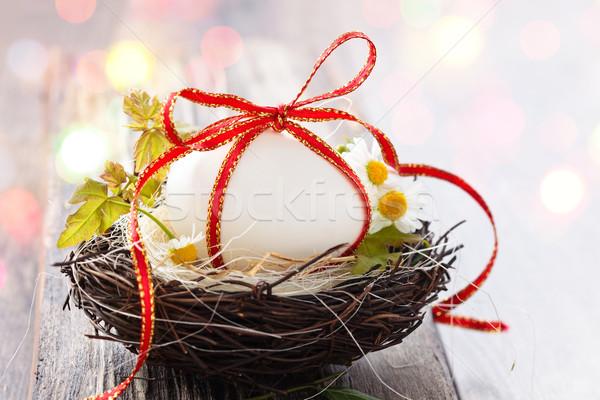 Easter egg nest witte ei houten bloem Stockfoto © Vitalina_Rybakova