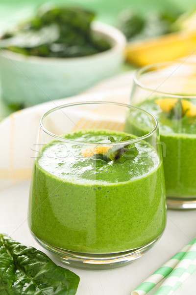 Groene mint spinazie smoothie bladeren citroen Stockfoto © Vitalina_Rybakova