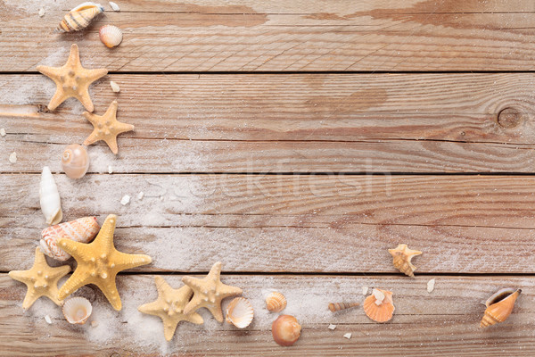 Houtstructuur frame schelpen wit zand rustiek houten Stockfoto © Vitalina_Rybakova