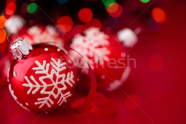 ストックフォト: クリスマス · 飾り · 赤 · 描いた · 雪