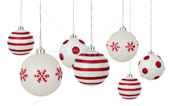 Witte christmas geschilderd Rood patronen Stockfoto © Vitalina_Rybakova