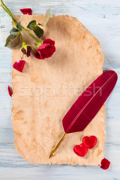 Frame oude papier harten rozen pen Stockfoto © Vitalina_Rybakova
