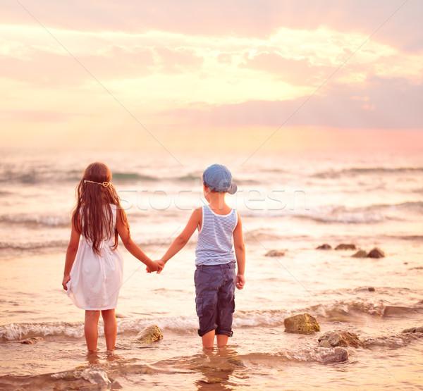 два дети смотрят закат девушки мальчика Сток-фото © Vitalina_Rybakova