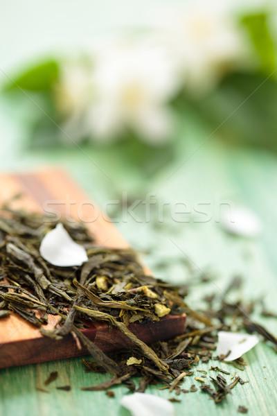 Groene thee gedroogd bladeren bloemen blad keuken Stockfoto © Vitalina_Rybakova