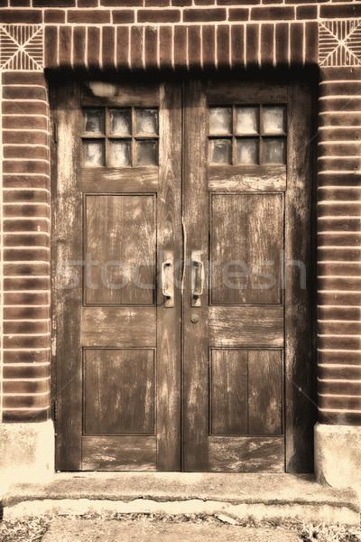 ドア 古い建物 ヨーロッパ セピア 木材 光 ストックフォト © Vividrange