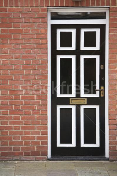 ドア 伝統的な 英語 フロントドア 黒白 ストックフォト © Vividrange