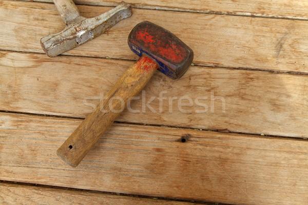 ストックフォト: ツール · 大工仕事 · 木製のテーブル · 建設 · 金属 · 表