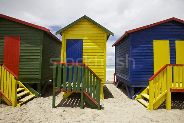Playa brillante pintado Ciudad del Cabo mar océano Foto stock © Vividrange