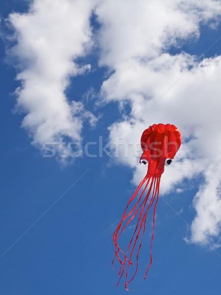 楽しい 飛行 カイト 空 白 雲 ストックフォト © Vividrange