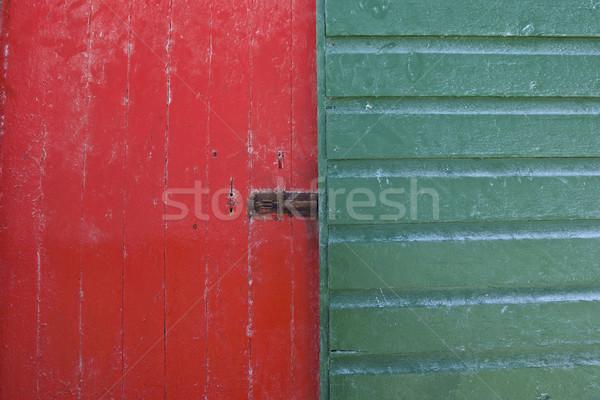 木製 ドア 描いた 小屋 海 背景 ストックフォト © Vividrange