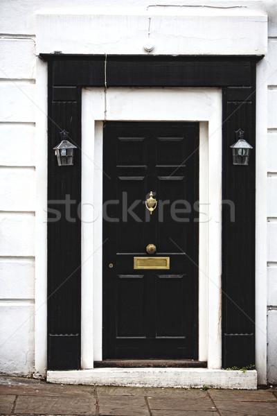 閉店 ドア 黒白 木製 ホーム 木材 ストックフォト © Vividrange