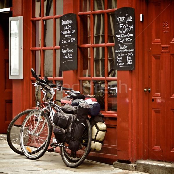 Foto stock: Pub · romper · bicicletas · británico · Reino · Unido · alimentos